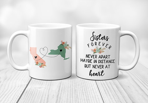 two state mug for long distance sisters