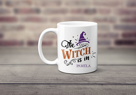 purple witch hat mug with comical text