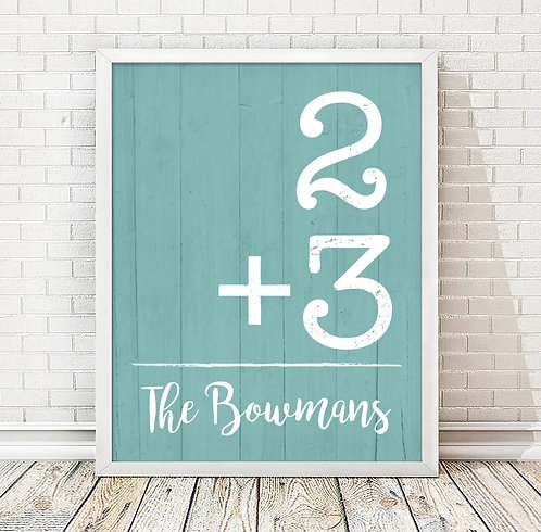 addition family personalized print