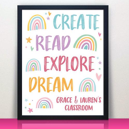 pastel rainbow read create homeschool print