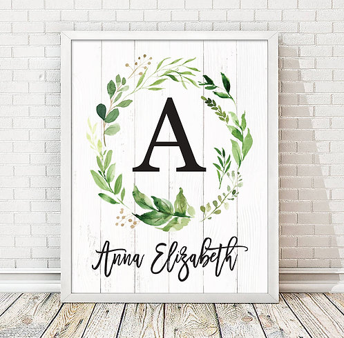 rustic eucalyptus monogram