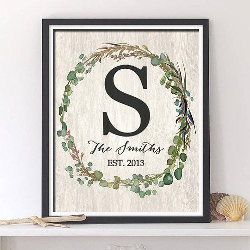 rustic monogram wreath print