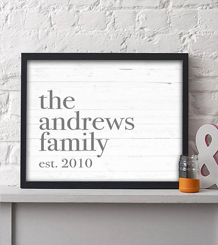 rustic family print personalized decor