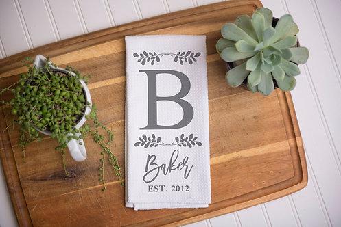 Personalized Monogram Kitchen Towel