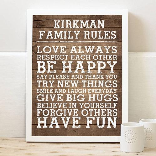 Family Rules Rustic Wood Print
