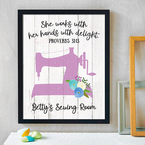 personalized sewing room decor
