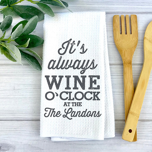 Wine O'Clock Personalized Towel