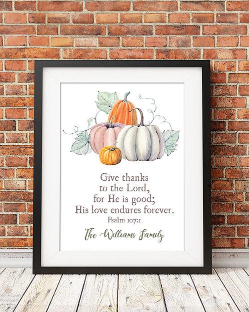 Thankful, Fall, Pumpkins Print