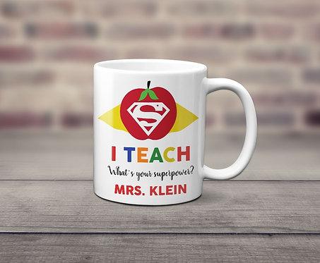 Teacher Super Power Personalized Mug