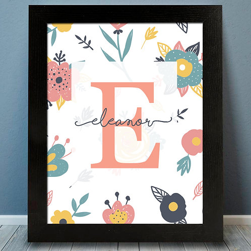 Personalized Floral Monogram Print