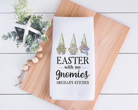 personalized Easter with my gnomies kitchen towel