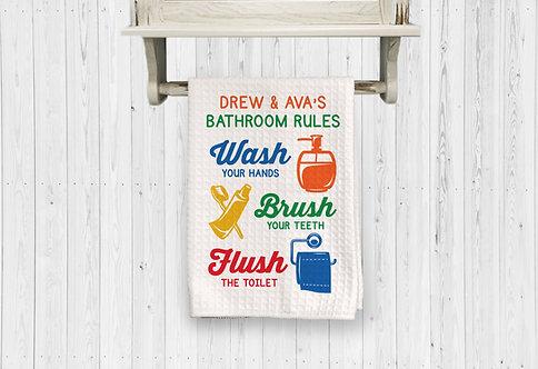 wash brush flush kids bathroom towel