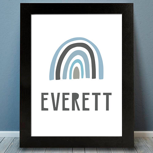 personalized gray and blue rainbow pastel print