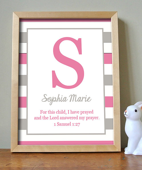 Bible Verse Monogram Print for a Girl