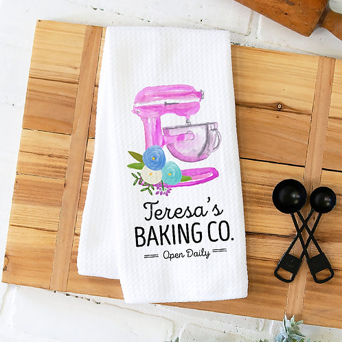 personalized pink mixer kitchen towel