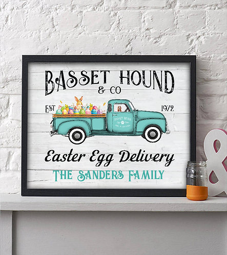 personalized Basset hound Easter print