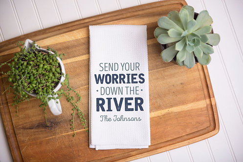 worries down the river  light green and blue text