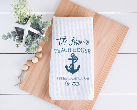 blue anchor beach house towel