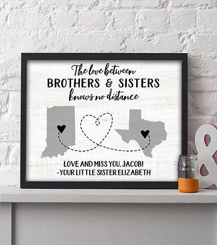 long distance siblings two state map print