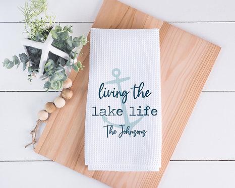 blue anchor living lake life towel