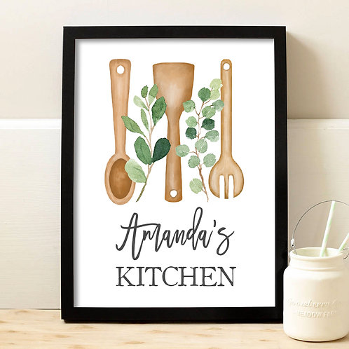 personalized kitchen utensils kitchen print