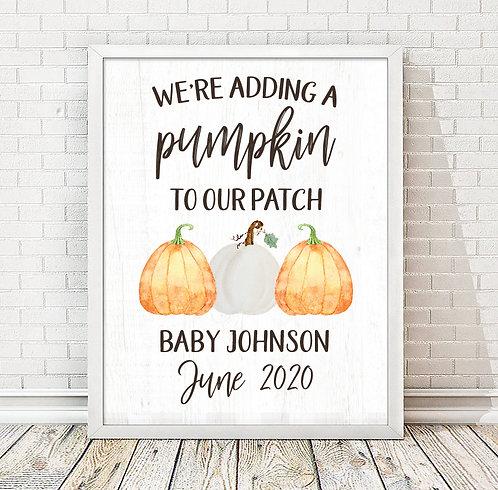 Pumpkin Pregnancy Announcement Print