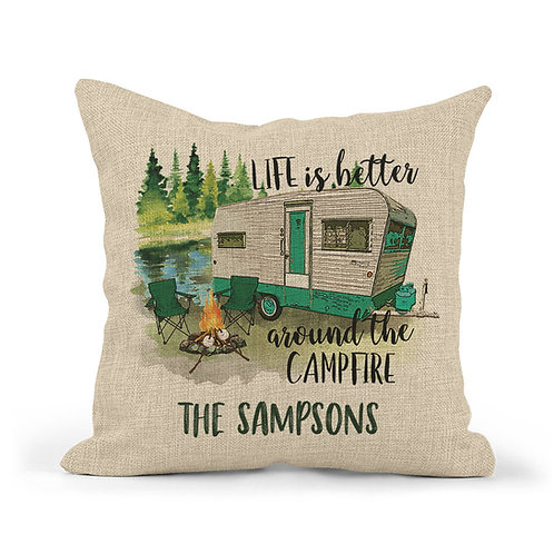 personalized life is better around the campfire pillow