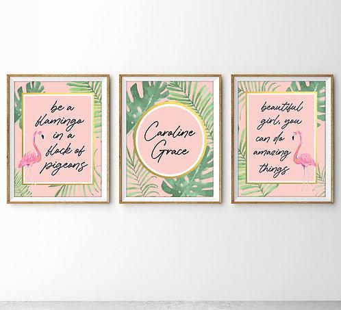 set of three flamingo prints for girls room