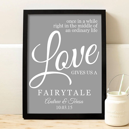 Fairytale love wedding print