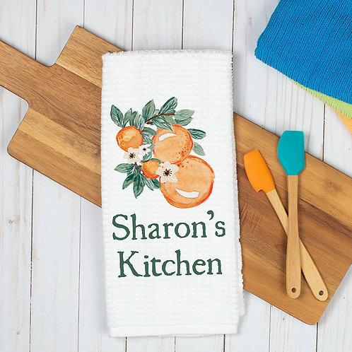 oranges printed on kitchen towel