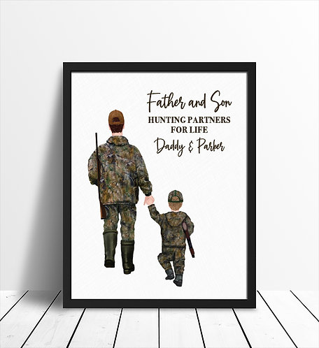 Father and son hunting partners for life print
