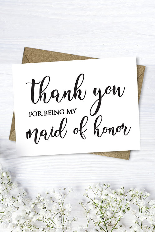 thank you for being my maid of honor wedding card