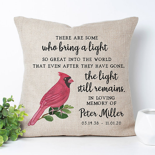 Cardinal in loving memory of pillow