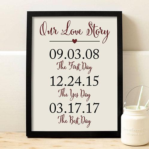Three Date Wedding Sign