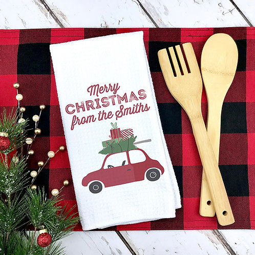 Red Car on Christmas Family Towel
