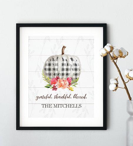 Plaid pumpkin fall print