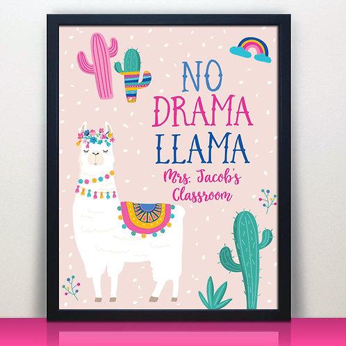 No Drama Llama Teacher Sign, Funny Teacher Sign