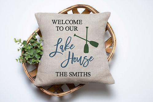 personalized lake house decorative pillow