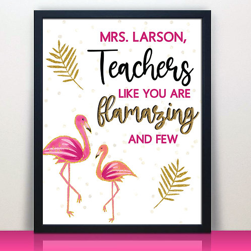 personalized flamingo teacher print