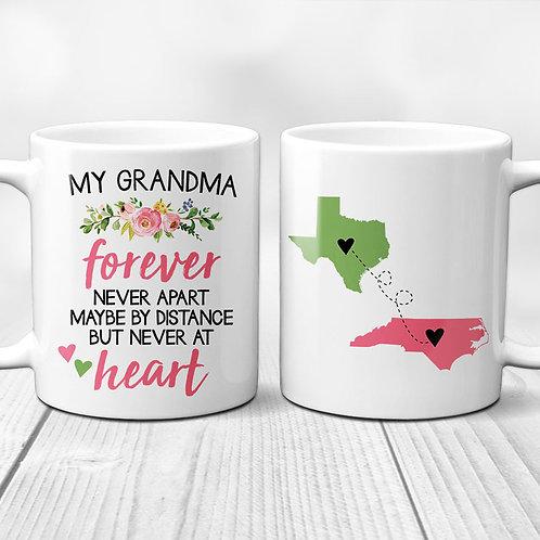 long distance grandma, floral mug, gift for grandma