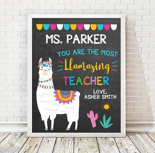 Llama Teacher Appreciation Print Chalkboard