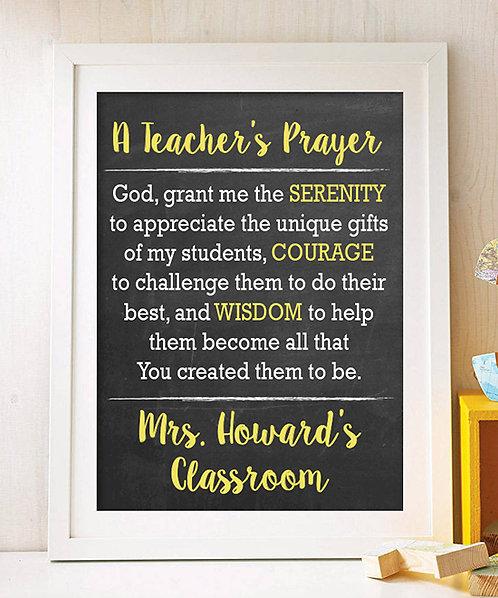 Teacher Prayer, Teaching Poster