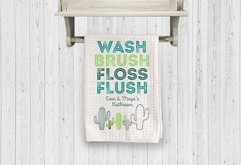 Cactus boho bathroom towel
