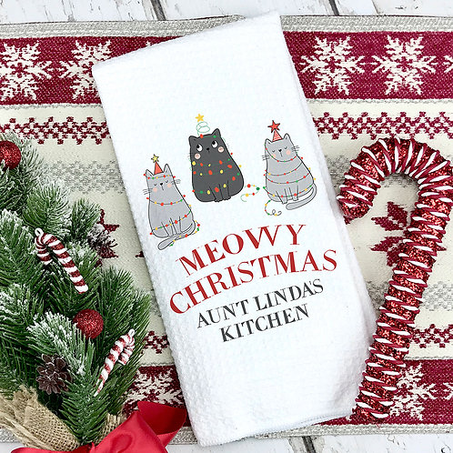 Personalized Meowy Christmas Kitchen Towel
