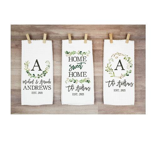 Set of three housewarming towels