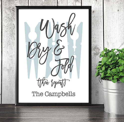 Wash Dry Fold Laundry Print Personalized
