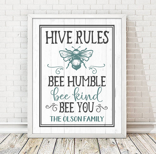Bumble bee family home print