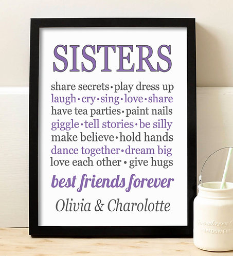 purple and black sister bff print