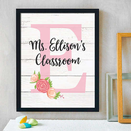 Pink Floral Classroom Decorations for Teachers