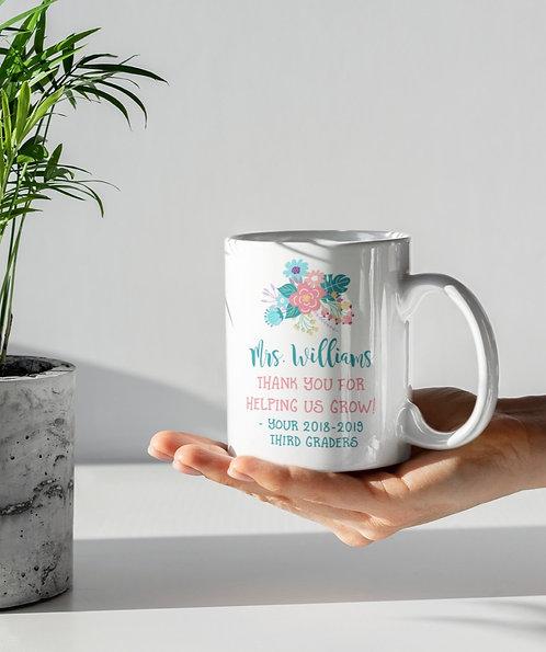 Teacher Appreciation Floral Personalized Mug